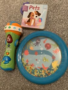 Baby Toy Bundle x3- VTech Sing Microphone, Under The Sea Shaker& Buggy Pets Book