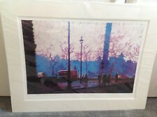"""Rolf Harris Signed Limited Edition Print """"Buses in Trafalgar"""" Mounted"""