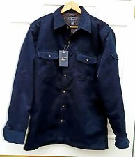 NWT Men's Navy Blue Faux Sherpa Lined Corduroy Shirt Jacket G.H. Bass Size M