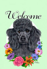 Welcome Flowers House Flag - Black Poodle 63006