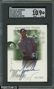 Tiger Woods Signed 2001 SP Authentic Golf Stars #45 RC /900 SGC 9 w/ 10 AUTO