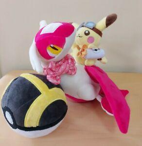 NEW Pikachu riding Latias Pokemon plush soft toy Tag Team with Pokeball Plush