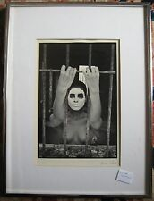 AMERICAN NINA GLASER AUTHENTIC ORIGINAL PHOTOGRAPH WHITE FACED NUDE BEHIND BARS
