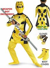 Power Ranger Jungle Fury Deluxe 4-6 S Yellow Cheetah Costume Gloves & Boot cover