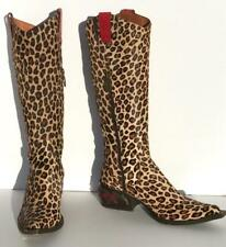 Donald Pliner Leopard Western Boot Size 7.5 Peace Calf Hair Red Leather Metal