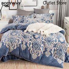 Luxury Bohemia Printing Fleece Fabric Bedding Set Flannel Velvet Cover Bed Sheet