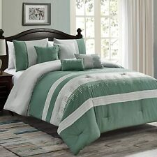 Bedding Comforter Set Bed In A Bag 7Pcs Striped Embroidery Microfiber King Teal