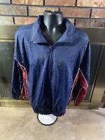 Vintage 90s Windbreaker Franklin Sports Jacket Blue Red Full Zip Mens Size Small
