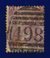 1867 SG104 6d Lilac (Hyphen) Plate 6 J75(1) Manchester Fair Used Cat £175 cjhx