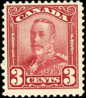 Mint Canada F+ Scott #151 3c 1928 KGV Scroll Issue Stamp Hinged