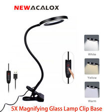 NEWACALOX Large Desk 5X Magnifier LED Lamp Clip-on Reading Solder Flexible Arm