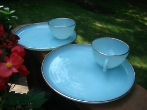 Fire King Anchor Turquoise Blue Snack Sets 22K Gold  2 SETS (2 CUPS 2 TRAYS)