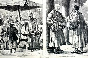 Life in China 1873 MONKS w HAND FURNACES STREET CHINESE MARKET Matted Art Print