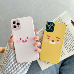For iPhone 12 11 Pro Max XS XR 7 8+ Cute Korean cartoon kakao Leather phone Case