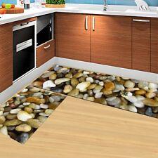 2 Pieces Non-Slip Kitchen Floor Mat Rubber Doormat Runner Rug Set Stone Design