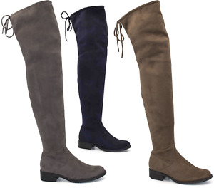 Ladies Thigh High Boots Over The Knee Long Zip Lace Up Low Block Flat Heel Shoes