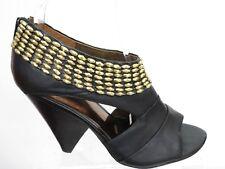Carlos by Carlos Santana black gold studs open toe block heels sandals UK 6 /8M