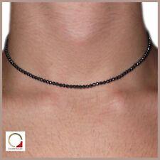 Collana da uomo in pietre dure perle ematite grigia argento girocollo surfista
