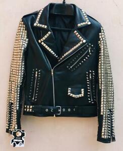 Handmade Women Black Fashion Studded Punk Style Leather Jacket