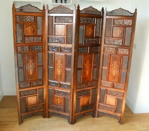 Antique Four Panel Indian Folding Wood Inlaid, Hand Carved, Screen/Room Divider