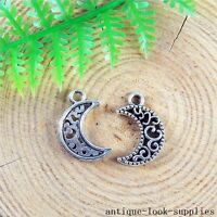 100pcs Vintage Silver Alloy Nice Moon Charms Pendants Jewellery Findings 51211