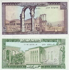 LIBAN   / LEBANON    5 et  10 LIVRES     UNC / NEUF   2  billets