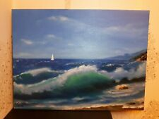 Oil painting on canvas hand painted (Abersoch beach, North Wales)