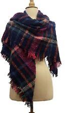 Warm Winter Shawl Wrap Scarf Wide Thick Triangle Stripe Plaid Checks Blanket