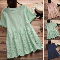 Women Short Sleeve Tunics Hollow Out Summer T-Shirt Tops Blouse Tee Shirt Plus