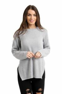 Ladies Women's Long Sleeve Knitted Round Neck Side Split Jumper Top Sweater New