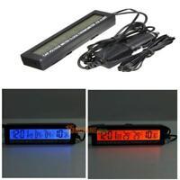 3 in 1 LED Digital Auto 12/24V Innen/Außen Thermometer Spannungsmesser Uhr KFZ