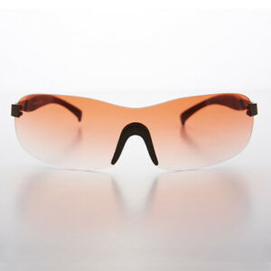 Rimless Sport Shield Vintage Sunglass with Red Gradient Lens - Lance