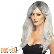 Ghostly Silver Glamour Wig Adult Womens Halloween Fancy Dress Costume Accessory
