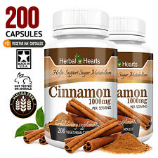 Cinnamon Ceylon 1000mg 200 Vegetarian Capsules -100% Organic! - Herbal Hearts