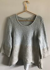Knitted & Knotted Anthro Wool Alpaca Linen Blend Pale Blue Scoop Neck Sweater S