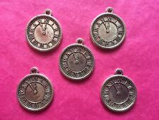 Tibetan Silver Clock Charm 5 per pack - double sided