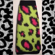 "Pink Cheetah Fleece ""Lime is the New Black"" Sphynx Hairless Cats Clothes"