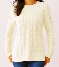 J Jill XL Sweater NEW Ivory White Cable Knit Pullover Tunic Hi Low MayFit 1X 2X