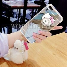 Cute Hello Kitty Plush Ball Mirror Case Cover & Ring Holder Stand & Pearl Strap