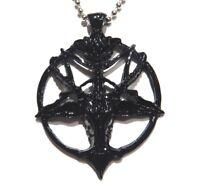 BLACK BAPHOMET PENDANT goat inverted pentagram pentacle satan devil necklace 1G