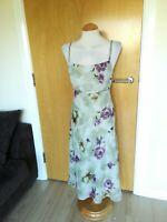 Ladies ETAM Dress Size 16 Green Purple Midi Mother Of Bride Party Wedding