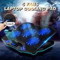 12-17'' Notebook Cooling Pad 5 LED Fans Touch Cooler Stand Gaming Laptop Mat USB
