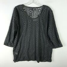 Eddie Bauer Womens Azaleak Embroidered Tribal Top Gray NWT XL Extra Large