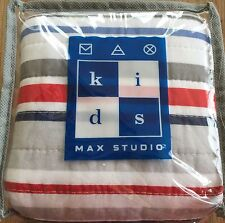 BOYS KIDS Striped Quilted Standard Sham Red Blue Grey Sports REVERSIBLE Bedding