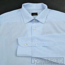 ERMENEGILDO ZEGNA Blue Check 100% Cotton Mens Luxury Dress Shirt - BESPOKE 17.5