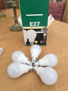 5 x Diall LED A+ Energy rated Screw in ( E27) Cool White Light Bulbs 9.5W / 60W