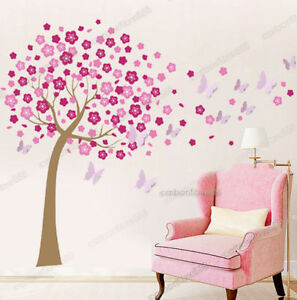 Huge Pink Blossom Flower Tree 3D Butterfly Wall Stickers Art Decal Paper Nursery