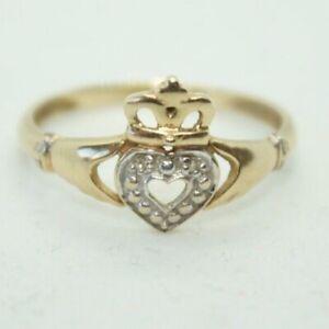 100% Genuine 9k Solid Yellow Gold Irish Claddagh Ring Sz 7.5 US