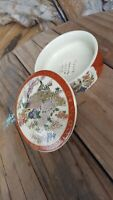 "Vintage Japanese Satsuma Porcelain Covered Bowl 3"" Peacocks & Flowers Gold Trim"