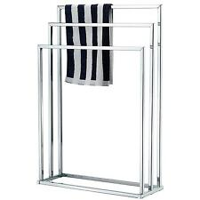 Freestanding Towel Rack, 3 Tier Metal Bar Stand, Silver Tone Chrome Home Outdoor